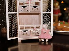 Bunny in Pink Dress & Her Little Bunny Friend by Jenny Tomkins Pink Dress, South Africa, Toddler Bed, Bunny, Handmade, Furniture, Dresses, Home Decor, Coat Hooks