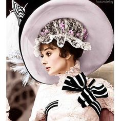 "The actress Audrey Hepburn as Eliza Doolittle and photographed by Bob Willoughby during the filming of ""My Fair Lady"" -Audrey was wearing creations of Cecil Beaton. Audrey Hepburn Outfit, Audrey Hepburn Photos, Aubrey Hepburn, My Fair Lady, Caroline Reboux, Eliza Doolittle, Cecil Beaton, Movie Costumes, Halloween Costumes"