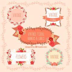 Floral Labels I Free Vector