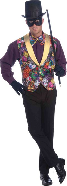 Men's Costume: Mardi Gras Vest and Bow TieColorful vest and tie. Perfect for Mardi Gras or when something colorful is needed. One size fits most.Age: AdultGender: Male