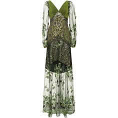 Rodarte Metallic Green Floral Embroidered Tulle Gown ($7,820) ❤ liked on Polyvore featuring dresses, gowns, evening gowns, long dress, long dresses, tulle gown, long sleeve dresses, green dress and long sequin dress