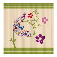 Bimbys Collection Stripe and Colorful Peacock Shower Curtains