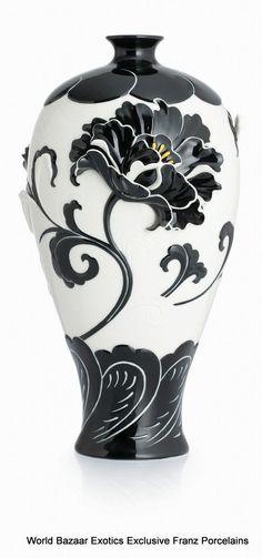 CP00041 Peony Franz Porcelain L MEI Vase Flower Design Black White Exclusive | eBay