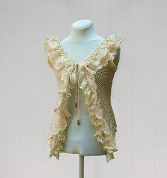 Feminine Romantic Clothing | ... Romantic, Feminine, Shabby Chic, Tea Stained from Upcycled Clothing