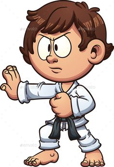 Karate Kid by memoangeles Cartoon kid practicing karate. Vector clip art illustration with simple gradients. Head and body on separate layers. and PSD Cartoon Faces, Cartoon Kids, Cartoon Drawings, Cute Drawings, Drawing Faces, The Karate Kid, Character Illustration, Graphic Illustration, Character Sketches