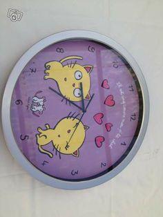 Horloge Il est cinq coeurs mon p'tit chat
