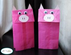 Meet the Dubiens: paper bag piggy puppets by olga