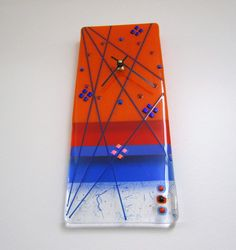 Orange You Glad Fused Glass Clock by JanuaryMayDesigns on Etsy, $55.00