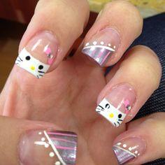 Hello Kitty nails :) Fancy Nails, Love Nails, Pretty Nails, Creative Nail Designs, Creative Nails, Hello Kitty Nails, Different Nail Designs, Xmas Nails, Cute Nail Art