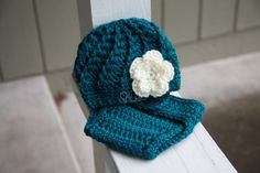 ReadytoShip Girl's Beanie w/ Flower and Diaper by OliJAccessories, $20.00