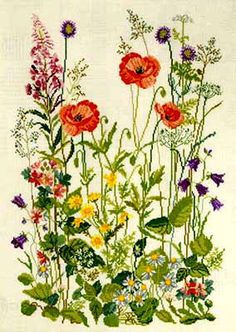 online for Meadow Flowers Cross Stitch Kit at . Browse our great range of cross stitch and needlecraft products, in stock, with great prices and fast delivery. Needlepoint Patterns, Embroidery Patterns, Diy Embroidery, Cross Stitch Kits, Cross Stitch Patterns, Cross Stitching, Cross Stitch Embroidery, Meadow Flowers, Wild Flowers
