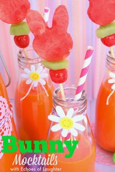 Bunny Mocktails. Super cute idea! Gluten Free. Dairy Free and Nut Free.