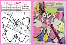 Free spring-themed art+math activity. Art with Jenny K. makes integrating art into your classroom curriculum easy and fun with terrific results every time.  Kids love these lessons!