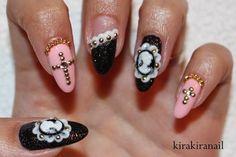Cameo and cross gothic nails by kirakiranails