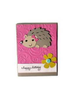 Hedgehog Birthday Card, Childs Birthday Card, Kids Birthday Card. $3.50, via Etsy.