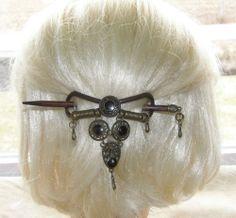VTG HAIR PIN  GRIP HEAD PIECE WOOD METAL LEATHER BEAUTIFUL 38$