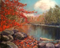 Pastel Landscape painting, by Gustavo Lopez (based on reference photo)