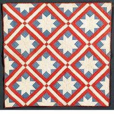 Eight-Point Star crib quilt, or Le Moyne Star crib quilt, circa 1850-1890