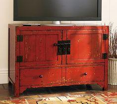 I like Chinese cabinets and red too, good size to hold the TV #NashvilleRealEstate #NealClaytonRealtors #decorating #design #interior www.nealclayton.com