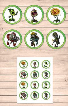Plants Vs Zombies Garden Warfare Cupcake Toppers // Plants Vs Zombies Stickers