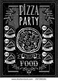 Vector illustration with pizza menu. Pizza Poster  on a blackboard. A delicious slice of pizza with sausage. - stock vector