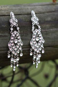 Chandelier Earrings- Vintage Earrings, Swarovski Bridal Earrings, Crystal earrings, Wedding earrings, Rhinestone earrings, Art Deco, Clear,