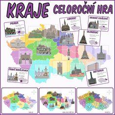 Velká mapa krajů a celoroční hra, kdy děti formou odměny sbírají kilometry (auta), které směňují za... Geography, Homeschool, Comics, Microsoft, Safari, Ideas, Historia, Cartoons, Homeschooling