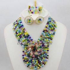 Colourful Crystal Bridal Jewelry Sets Necklace African Wedding Beads New Nigerian Beaded Necklaces Sets Free Shipping ABF733