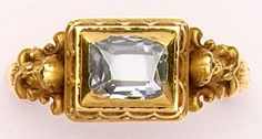 Emerald-cut diamond and carved gold ring. Wièse, Paris. Wiese was one of the greatest Art Nouveau jewelers. This is a spectacular figural ring.