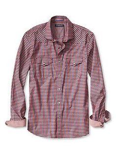 Slim-Fit Gingham Western Shirt