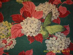 Vintage Bark Cloth with hydrangeas and butterflies.
