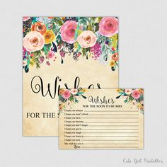 Wishes for the Soon to Be Mrs Game - Floral & Flowers Printable Bridal Shower Wishes for the Bride to Be - Cream Floral 0001C