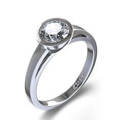 Contemporary Bezel-Set Round Solitaire Engagement Ring in 14k White Gold (for if I ever get my stone reset)
