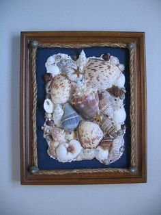 Original Seashell Art Collage Framed  Navy Canvas by seasideshells, $49.00