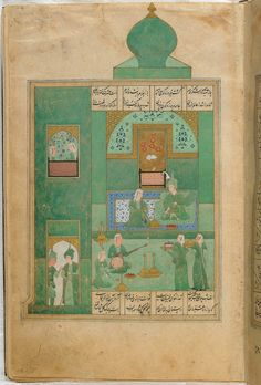 Folio from a Khamsa (Quintet) by Nizami recto: Bahram Gur in the turquoise-blue pavilion on Wednesday; verso: text, Princess begins storytelling 1548 Safavid period Ink, opaque watercolor and gold on paper H: W: cm Shiraz, Iran Gift of Charles Lang Freer Medieval Manuscript, Illuminated Manuscript, Islamic World, Islamic Art, Freer Gallery, Iranian Art, Coran, Arabian Nights, Art And Architecture