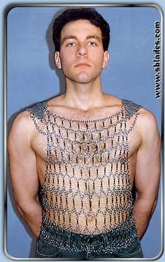Chainmail & More Gladiator Tank costume, Chainmail shirt men's fashion Chainmail Shirt, Body Chain Jewelry, Metal Fashion, Costume, Chain Mail, Bikini Tops, Tank Man, Scale Mail, Fashion Outfits