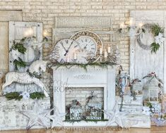 Elegant Christmas Fireplace Mantle with White Decor Christmas Fireplace, Farmhouse Christmas Decor, Christmas Mantels, Christmas Decorations, Christmas Crafts, Christmas Items, Balloon Decorations, Farmhouse Decor, Christmas Wreaths