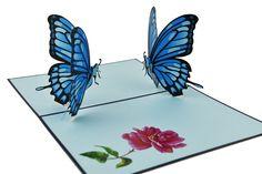 Double Blue Butterflies Pop Up Greeting Card