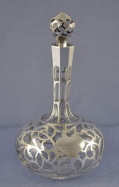 Late 19th Century, American, Art Nouveau Style, Silver Overlay, Perfume