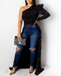 2020 Women Stylish Fashion Long Party Top Glitter One Shoulder Asymmetrical Long Sleeve Blouse Cute Blouses, Blouses For Women, Trend Fashion, Fashion Outfits, Style Fashion, Cheap Fashion, Fashion Today, Latest Fashion, Fashion Online