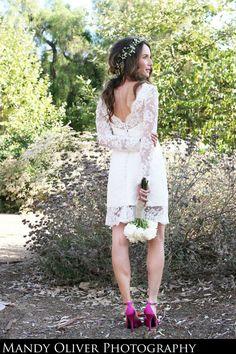 Short Wedding Dress with Lace Sleeves door bridalblissdesigns