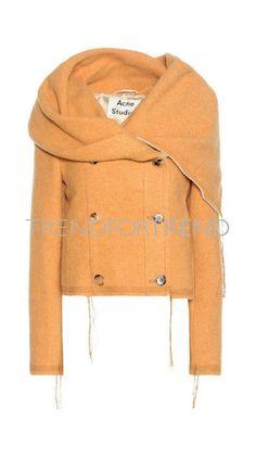 Alton Blanket Wool-blend Jacket In Yellow Alexander Mcqueen, Orange Jacket, Fashion Studio, Acne Studios, Wool Blend, Designer, Fashion Online, Knitwear, Clothes For Women