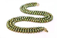 Luxurious Olive Colour Large Freshwater Pearl by Femalehappiness