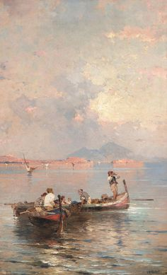 Franz Richard Unterberger-Fisherman in the Bay of Naples Aesthetic Painting, Aesthetic Art, Simple Aesthetic, Painting Wallpaper, Painting & Drawing, Arte Peculiar, Drawn Art, Wow Art, Art Hoe