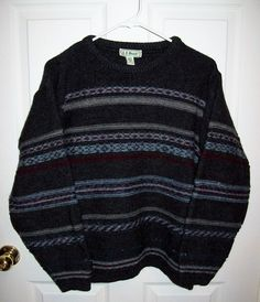 Vintage Men's Gray Striped Wool Ski Sweater by L L Bean Small Only 10 USD by SusOriginals on Etsy