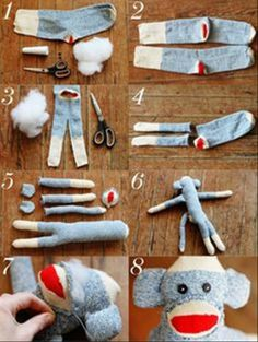 Monkey (and Friend) DIY DIY sock monkey and friend! seriously so fun. Sock Monkey (and Friend) DIY DIY sock monkey and friend! seriously so fun. Sock Crafts, Fabric Crafts, Fun Crafts, Sewing Crafts, Sewing Projects, Crafts For Kids, Arts And Crafts, Diy Projects, Creative Crafts
