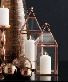 Set Of 2 Copper Effect Lanterns from Next