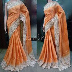 Code:09071611 - Shaded Tussar Silk saree With Cutwork Border and pallu , Price INR:8960/-