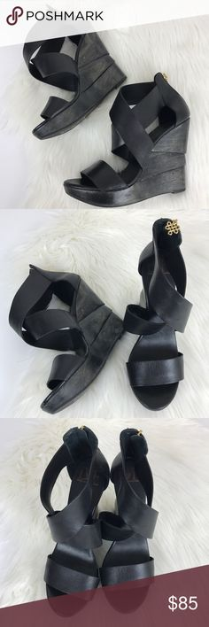 """DVF The Opal Crisscross Black Wedge Sandal Size 10. Great condition aside from some marks on the outside and bottom- see images.  Stand tall in this statement sandal from Diane von Furstenberg. Goldtone hardware. Zip back ankle. Crisscross detail along vamp. Open toe. Wooden platform. 4 1/2"""" wooden wedge heel. Made in Brazil.  🙅🏻No trades! 💗Offers through the offer button only 📦Bundle and save 20% off your order Diane Von Furstenberg Shoes Wedges"""