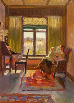 Roy de Maistre    (Australia, England 27 Mar 1894–01 Mar 1968)  Title (Interior with mother and child, Exeter, NSW) Other titles:Interior with Mother and ChildYear1916